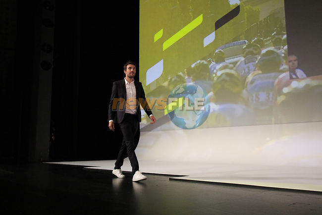 Thibaut Pinot (FRA) introduced on stage at the Tour de France 2020 route presentation held in the Palais des Congrès de Paris (Porte Maillot), Paris, France. 15th October 2019.<br /> Picture: Eoin Clarke | Cyclefile<br /> <br /> All photos usage must carry mandatory copyright credit (© Cyclefile | Eoin Clarke)