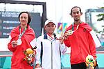 (L-R) Jason Dennis Lijnzaat (INA),  Kensuke Sasaoka (JPN),  Pevi Permana Putra (INA),<br /> AUGUST 29, 2018 - Skateboarding : <br /> Men's Park Medal Ceremony <br /> at Jakabaring Sport Center Skatepark <br /> during the 2018 Jakarta Palembang Asian Games <br /> in Palembang, Indonesia. <br /> (Photo by Yohei Osada/AFLO SPORT)