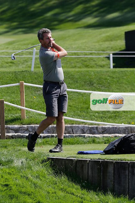 Getty photographer Stuart Franklin gets some practice in during Wednesday's Pro-Am of the LPGA 2015 Evian Championship, Evian les Bains, France. 09/09/2015.<br /> Picture Eoin Clarke | Golffile