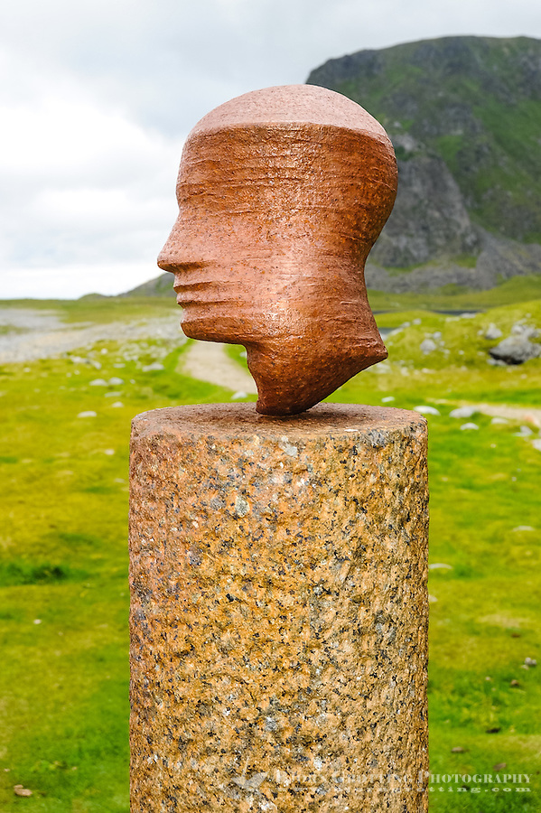 Norway, Lofoten. Eggum is located on the north side of Vestvågøya. This sculpture in Eggum, the Head, changes form 16 times as you walk around it.