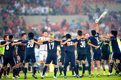 Japan team group (JPN),<br /> JULY 28, 2013 - Football / Soccer :<br /> Japan players celebrate their title after winning the EAFF East Asian Cup 2013 match between South Korea 1-2 Japan at Jamsil Olympic Stadium in Seoul, South Korea. (Photo by FAR EAST PRESS/AFLO)