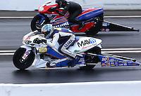 May 31, 2014; Englishtown, NJ, USA; NHRA pro stock motorcycle rider Adam Arana during qualifying for the Summernationals at Raceway Park. Mandatory Credit: Mark J. Rebilas-
