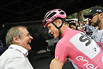 Race Director Mauro Vegni jokes with race leader Chris Froome (GBR) Team Sky Maglia Rosa at sign on before the start of Stage 21 of the 2018 Giro d'Italia, running 115km around the centre of Rome, Italy. 27th May 2018.<br /> Picture: LaPresse/Marco Alpozzi | Cyclefile<br /> <br /> <br /> All photos usage must carry mandatory copyright credit (&copy; Cyclefile | LaPresse/Marco Alpozzi)