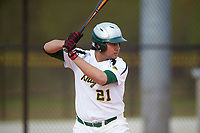Community College of Rhode Island Knights Enzo Clemente (21) at bat during a game against the Genesee Community College Cougars on March 20, 2016 at Lake Myrtle Park in Auburndale, Florida.  CCRI defeated Genesee 23-4.  (Mike Janes/Four Seam Images)