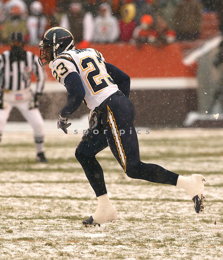 Quentin Jammer during the San Diego Chargers v. Cleveland Browns game on December 19, 2004. Chargers win 21-0...Kevin Tanaka / SportPics