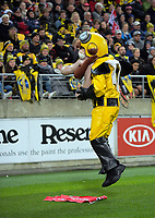 Captain Hurricane entertains the crowd during the Super Rugby match between the Hurricanes and Crusaders at Westpac Stadium in Wellington, New Zealand on Saturday, 15 July 2017. Photo: Dave Lintott / lintottphoto.co.nz