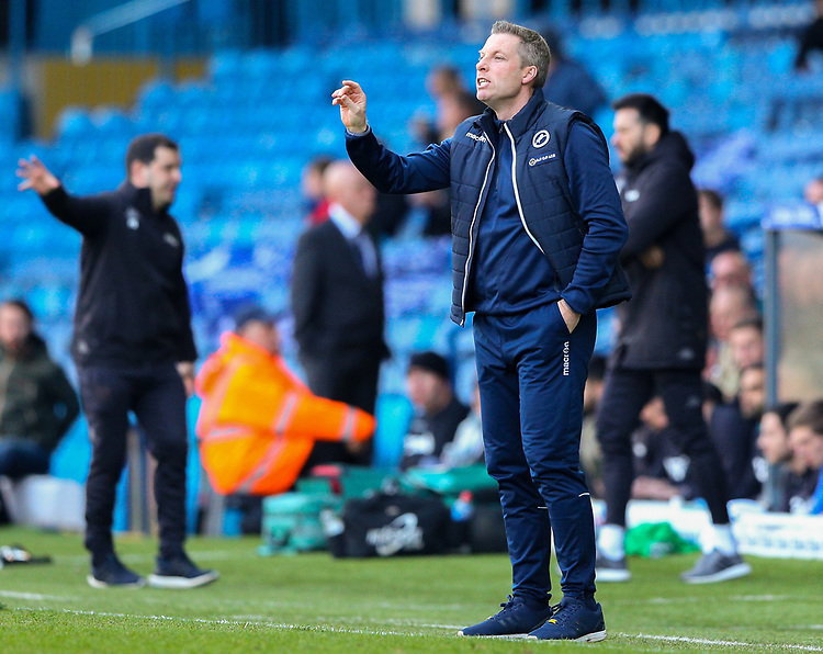 Millwall managerNeil Harris shouts instructions to his team from the technical area<br /> <br /> Photographer Alex Dodd/CameraSport<br /> <br /> The EFL Sky Bet Championship - Leeds United v Millwall - Saturday 30th March 2019 - Elland Road - Leeds<br /> <br /> World Copyright © 2019 CameraSport. All rights reserved. 43 Linden Ave. Countesthorpe. Leicester. England. LE8 5PG - Tel: +44 (0) 116 277 4147 - admin@camerasport.com - www.camerasport.com