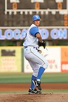 Scott Diamond of the Myrtle Beach Pelicans pitches  against the Salem Avalanche  at BB&T Coastal Field in Myrtle Beach, SC on June 14, 2008