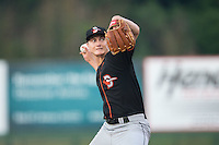 Delmarva Shorebirds starting pitcher Matthew Grimes (29) in action against the Kannapolis Intimidators at CMC-Northeast Stadium on June 6, 2015 in Kannapolis, North Carolina.  The Shorebirds defeated the Intimidators 7-2.  (Brian Westerholt/Four Seam Images)