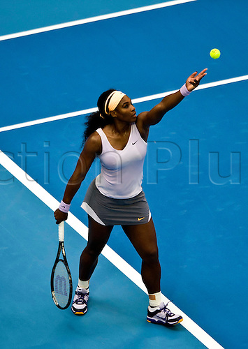 01.10.2013 Beijing, China. Serena Williams of USA defeats Francesca Schiavone of Italy 2:0 (6-4, 7-5) during a women's singles match at the Tennis China Open.