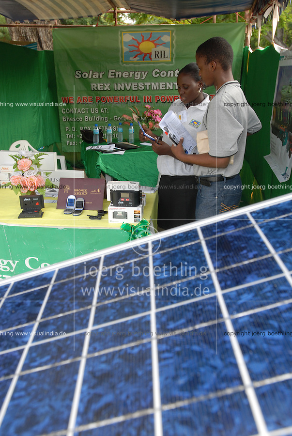 "Afrika Ostafrika Tanzania Dar es Salam .Solar day , Messe und Konferenz in Dar , Stand mit solar home systems  -  Micro Energie renewables Photovoltaik  Entwicklung Entwicklungspolitik xagndaz | .Africa East-africa Tanzania Dar es Salam .solar day exhibition and conference - energy photovoltaic renewables micro-energy  development .| [ copyright (c) Joerg Boethling / agenda , Veroeffentlichung nur gegen Honorar und Belegexemplar an / publication only with royalties and copy to:  agenda PG   Rothestr. 66   Germany D-22765 Hamburg   ph. ++49 40 391 907 14   e-mail: boethling@agenda-fototext.de   www.agenda-fototext.de   Bank: Hamburger Sparkasse  BLZ 200 505 50  Kto. 1281 120 178   IBAN: DE96 2005 0550 1281 1201 78   BIC: ""HASPDEHH"" ,  WEITERE MOTIVE ZU DIESEM THEMA SIND VORHANDEN!! MORE PICTURES ON THIS SUBJECT AVAILABLE!! ] [#0,26,121#]"