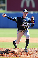 Akron Zips pitcher Andrew Brown #38 during a game vs. the Xavier Musketeers at Chain of Lakes Park in Winter Haven, Florida;  March 11, 2011.  Xavier defeated Akron 7-0.  Photo By Mike Janes/Four Seam Images