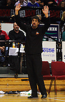 Bay Hawks coach Shawn Dennis throws his hands up at a referee's decision during the NBL Basketball match between the Wellington Saints and Bay Hawks, TSB Bank Arena, Wellington, New Zealand on Saturday, 10 May 2008. Photo: Dave Lintott / lintottphoto.co.nz