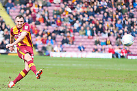 Tony McMahon of Bradford City  goes close with a free kick during the Sky Bet League 1 match between Bradford City and Gillingham at the Northern Commercial Stadium, Bradford, England on 24 March 2018. Photo by Thomas Gadd.