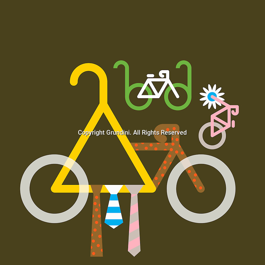 Abstract collage of ties, glasses, flower and bicycles  ExclusiveImage ExclusiveArtist ExclusiveArtist