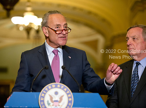 United States Senate Minority Leader Chuck Schumer (Democrat of New York) speaks to reporters following the Democratic Party luncheon in the United States Capitol in Washington, DC on Tuesday, June 27, 2017.  At right is US Senate Minority Whip Dick Durbin (Democrat of Illinois).<br /> Credit: Ron Sachs / CNP