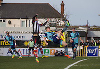 Dayle Southwell of Wycombe Wanderers tries an overhead kick shot at goal during the Sky Bet League 2 match between Grimsby Town and Wycombe Wanderers at Blundell Park, Cleethorpes, England on 4 March 2017. Photo by Andy Rowland / PRiME Media Images.