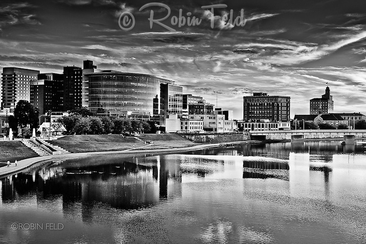 Dayton Ohio skyline black and white photo showing buildings and river