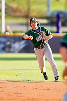 Second baseman Yoandry Galan #2 of the Manhattan Jaspers makes a throw to first base against the High Point Panthers at Willard Stadium on March 9, 2012 in High Point, North Carolina.  The Panthers defeated the Jaspers 11-6.  (Brian Westerholt/Four Seam Images)