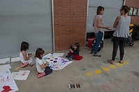Parents and pupils at a school in Sabadell near Barcelona occupy their school to keep it open as a polling station for the banned Catalonia independence referendum the following day. 30-9-17