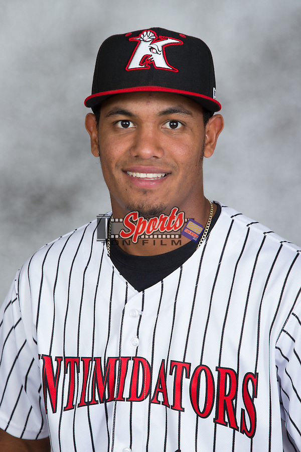 Cleuluis Rondon (16) of the Kannapolis Intimidators poses for a head shot at Kannapolis Intimidators Stadium on May 4, 2016 in Kannapolis, North Carolina.  (Brian Westerholt/Four Seam Images)