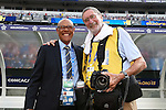 18 July 2015: CONCACAF referee coordinator Peter Prendergrast (JAM) (left) with photographer Tony Quinn (ENG). The United States Men's National Team played the Cuba Men's National Team at M&T Bank Stadium in Baltimore, Maryland in a 2015 CONCACAF Gold Cup quarterfinal match. The U.S. won the game 6-0.