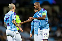 Fernandinho of Manchester City gives instructions to Angelino of Manchester City during the UEFA Champions League Group C match between Manchester City and Shakhtar Donetsk at the Etihad Stadium on November 26th 2019 in Manchester, England. (Photo by Daniel Chesterton/phcimages.com)