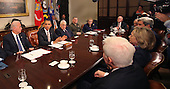 United States President Barack Obama makes a statement during a meeting with present administration officials and former Secrtaries of State and Defense in the Roosevelt Room of the White House on Thursday, November 18, 2010.   From left to right: US Vice President Joseph Biden; President Obama; Henry Kissinger, former US Secretary of State; General James Cartwright, Vice Chairman Joint Chiefs of Staff;  Madeleine  Albright, former Secretary of State; Brent Scowcroft, former National Security Advisor; US Senator John Kerry (Democrat of Massachusetts); US Secretary of State Hillary Rodham Clinton; and US Senator Richard Lugar (Republican of Indiana) .Credit: Dennis Brack / Pool via CNP