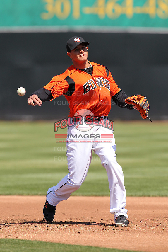 Bowie BaySox shortstop Manny Machado #3 during practice before a game against the Harrisburg Senators at Prince George's Stadium on April 8, 2012 in Bowie, Maryland.  Harrisburg defeated Bowie 5-2.  (Mike Janes/Four Seam Images)