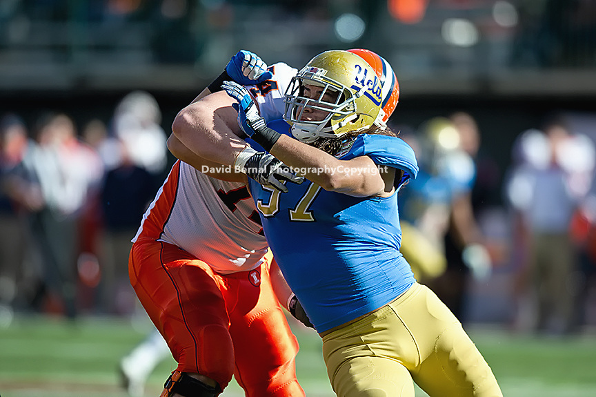 SAN FRANCISCO, CA - December 31, 2011: UCLA defensive end Damien Holmes (97) competes against University of Illinois at AT&T Park in San Francisco, California. Final score Illinois wins 20-14.