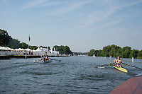 """Henley on Thames, United Kingdom, 3rd July 2018, Friday,  """"Henley Royal Regatta"""",  Heat of """"The Double Sculls Challenge Cup"""" left ROU M2X and Right, NOR M2X,  Henley Reach, River Thames, Thames Valley, England, UK."""