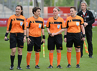 20170513 - MECHELEN , BELGIUM : Belgian referees  Irina Lyussina, Berengere Pierart, Hannelore Onsea and Ella De Vries pictured after the final of Belgian cup 2017 , a womensoccer game between RSC Anderlecht and KAA Gent Ladies , in the AFAS stadion in Mechelen , saturday 13 th Mayl 2017 . PHOTO SPORTPIX.BE | BELGA |  DAVID CATRY