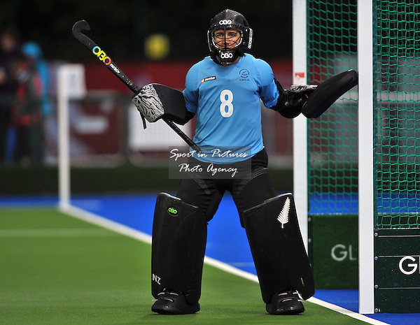 Sally Rutherford (NZL, goalkeeper). South Africa (RSA) v New Zealand (NZL). Womens bronze medal match. Hockey. PHOTO: Mandatory by-line: Garry Bowden/SIPPA/Pinnacle - Tel: +44(0)1363 881025 - Mobile:0797 1270 681 - VAT Reg No: 183700120 - 020814 - Glasgow 2014 Commonwealth Games - Glasgow national hockey centre, Glasgow, Scotland, UK