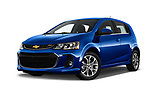 Stock pictures of low aggressive front three quarter view of a 2019 Chevrolet Sonic LT RS Select Doors Door Hatchback