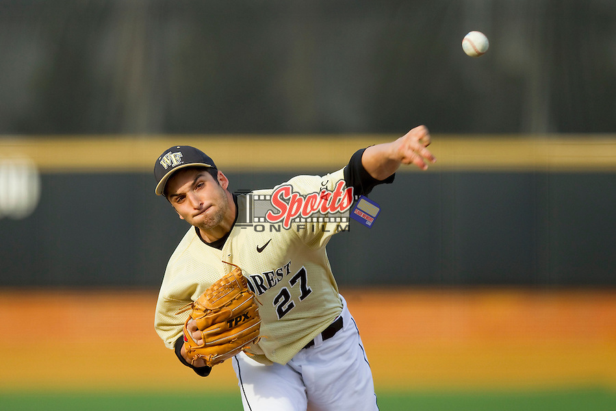 Wake Forest Demon Deacons relief pitcher Niko Spezial (27) delivers a pitch to the plate against the Virginia Cavaliers at Wake Forest Baseball Park on April 6, 2013 in Winston-Salem, North Carolina.  (Brian Westerholt/Sports On Film)