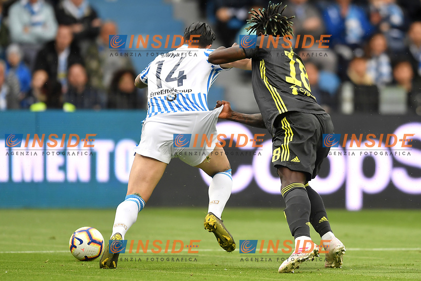 Kevin Bonifazi of SPALand Moise Kean of Juventus compete for the ball  <br /> Ferrara 13-4-2019 Stadio Paolo Mazza Football Serie A 2018/2019 SPAL - Juventus <br /> Foto Andrea Staccioli / Insidefoto