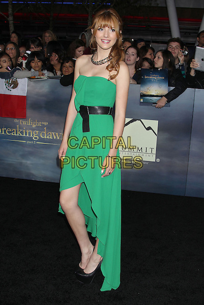"Bella Thorne.""The Twilight Saga: Breaking Dawn - Part 2"" Los Angeles Premiere held at Nokia Theatre L.A. Live, Los Angeles, California, USA..November 12th, 2012.full length green strapless dress black belt gold necklace .CAP/ADM/RE.©Russ Elliot/AdMedia/Capital Pictures."