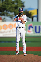 Brooklyn Cyclones pitcher Casey Meisner (12) during game against the Aberdeen IronBirds at MCU Park on July 5, 2014 in Brooklyn, NY.  Aberdeen defeated Brooklyn 18-2.  (Tomasso DeRosa/Four Seam Images)