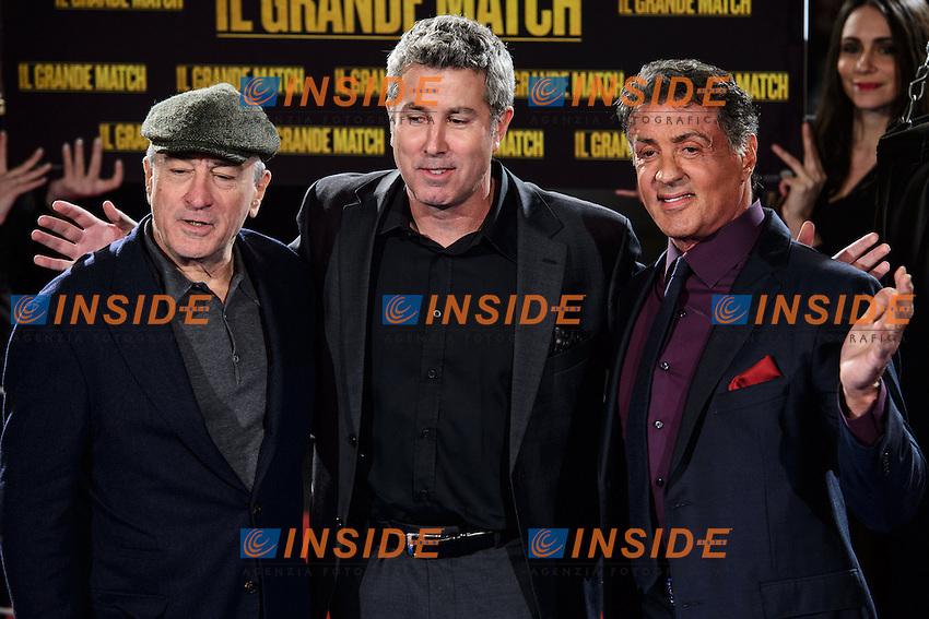 Robert De Niro, Peter Segal, Sylvester Stallone <br /> Roma 07-01-2014 Cinema The Space Moderno <br /> Grudge Match - Il Grande Match Premiere<br /> Foto Andrea Staccioli / Insidefoto