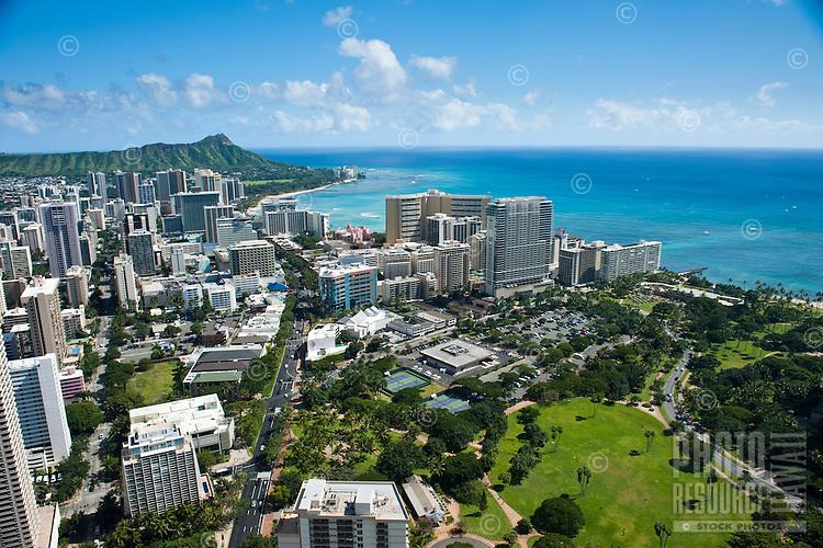 Waikiki aerial looking down Kalakaua Ave to Diamond Head over Ft DeRussey