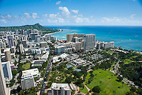 Waikiki aerial looking down Kalakaua Ave to Diamond Head over Ft DeRussey
