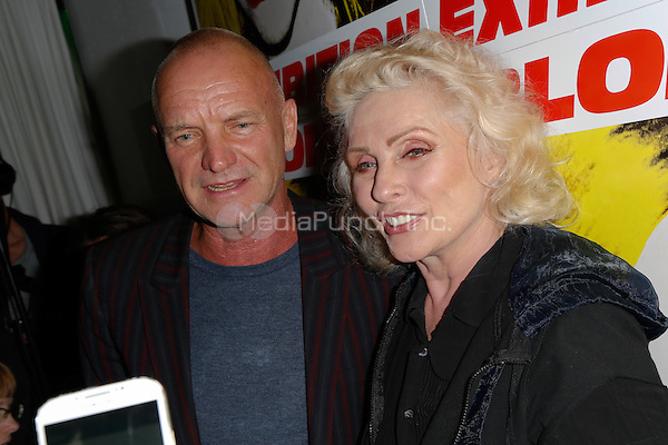 New York, NY - September 22 : Musucian Sting and Debbie Harry attend Blondie's 40th Anniversary Exhibition Hosted by Jeffrey Deitch held at the Chelsea Hotel Storefront Gallery on September 22, 2014 in New York City. (Photo by Brent N. Clarke / MediaPunch)
