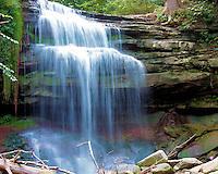 Grindstone Creek falls over the Niagara Escarpment in Waterdown Ontario Canada