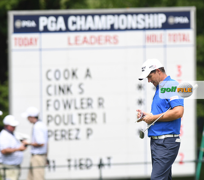 Padraig Harrington(IRL) checks his yardage book on the 17th during the 1st round of the 100th PGA Championship at Bellerive Country Club, St. Louis, Missouri.<br /> Picture Tom Russo / Golffile.ie<br /> <br /> All photo usage must carry mandatory copyright credit (© Golffile | Tom Russo)