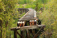 The Gilahina railroad trestle can be seen on the road to McCarthy, Wrangell-St Elias National Park and Preserve, Alaska