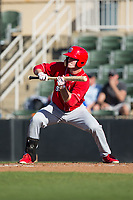 Cord Sandberg (32) of the Lakewood BlueClaws squares to bunt against the Kannapolis Intimidators at Kannapolis Intimidators Stadium on April 9, 2017 in Kannapolis, North Carolina.  The BlueClaws defeated the Intimidators 7-1.  (Brian Westerholt/Four Seam Images)