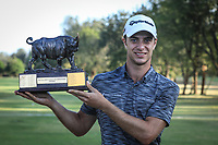 Guido Migliozzi (ITA) poses with the trophy after the final round of the Magical Kenya Open, Karen Country Club, Nairobi, Kenya. 17/03/2019<br /> Picture: Golffile | Phil Inglis<br /> <br /> <br /> All photo usage must carry mandatory copyright credit (&copy; Golffile | Phil Inglis)
