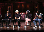 """Anthony Lee Medina, Terrance Spencer, Gabriella Sorrentino, Deon'te Goodman during the eduHAM Q & A before The Rockefeller Foundation and The Gilder Lehrman Institute of American History sponsored High School student #EduHam matinee performance of """"Hamilton"""" at the Richard Rodgers Theatre on October 30, 2019 in New York City."""