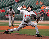 Texas Tech Red Raider pitcher Louis Head against Houston on Sunday March 7th, 2100 at the Astros College Classic in Houston's Minute Maid Park.  (Photo by Andrew Woolley / Four Seam Images)