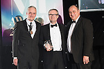 © Joel Goodman - 07973 332324 . 03/03/2016 . Manchester , UK . Michael Hardacre , president of Manchester Law Society , Team of the Year winner-  Private Client , ANDREW NEWBURY (obo Slater and Gordon Lawyers ) (centre) . The Manchester Legal Awards from the Midland Hotel . Photo credit : Joel Goodman
